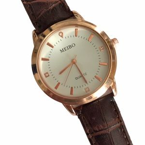MEIBO Watch Rose gold Brown Croc Embossed Band
